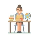 Jonge leraarszitting bij het bureau vector illustratie
