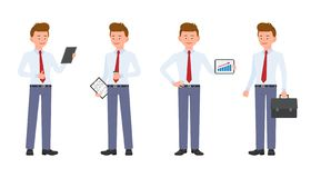 Jonge, leuke, gelukkige bureaumens in formele slijtage die zich met nota's bevinden en koffie, tablet, aktentas stock illustratie