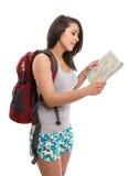 Jonge leuke toerist met kaart en rugzak Stock Afbeeldingen