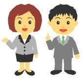 Jonge man en vrouw in kostuum vector illustratie