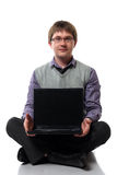 Jonge manager met laptop Royalty-vrije Stock Afbeeldingen