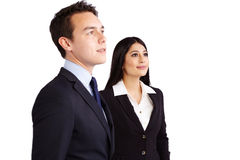 Jonge mannelijke bedrijfsman en vrouwelijke bedrijfsvrouw die toget bevinden zich Royalty-vrije Stock Afbeelding