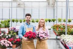 Jonge mannelijke en vrouwelijke tuinlieden die potten houden Stock Afbeelding
