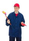 Jonge mannelijke reinigingsmachine Royalty-vrije Stock Foto's