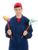 Jonge mannelijke reinigingsmachine Stock Foto's