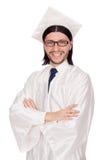 Jonge mannelijke student die van middelbare school een diploma wordt behaald Stock Fotografie