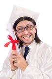 Jonge mannelijke student die van middelbare school een diploma wordt behaald Royalty-vrije Stock Afbeeldingen