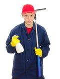 Jonge mannelijke vensterreinigingsmachine Stock Foto