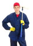 Jonge mannelijke vensterreinigingsmachine Stock Afbeelding