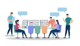 Jonge Mannen en Vrouwen die Gadgets en Computers met behulp van stock illustratie