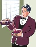 Jonge meer sommelier, bedoeling bij het gieten van wijn van een fles vector illustratie