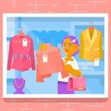 Jonge meisje het kopen kleding bij opslag Vector illustratie Royalty-vrije Stock Afbeeldingen