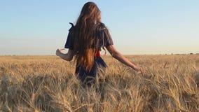 Jonge meisjesgangen in rijpe tarwe stock footage