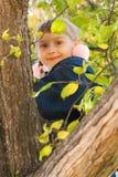 Jonge meisjeszitting in een boom Royalty-vrije Stock Fotografie