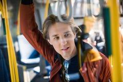 Jonge mens in bus royalty-vrije stock afbeeldingen