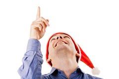 Jonge mens in de hoed van de Kerstman Royalty-vrije Stock Afbeelding
