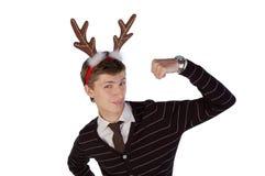 Jonge mens die de hoornen van herten draagt Royalty-vrije Stock Foto
