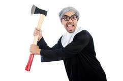 Jonge mens die die als non dragen op het wit wordt geïsoleerd Royalty-vrije Stock Foto