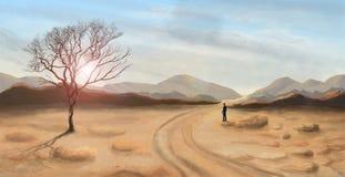 Jonge mens die en zich in woestijnlandschap bevinden kijken, het digitale schilderen royalty-vrije illustratie