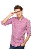 Jonge mens die glazen draagt Royalty-vrije Stock Fotografie
