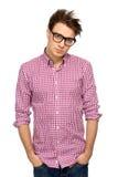 Jonge mens die glazen draagt Stock Foto