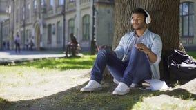 Jonge mens die hoofdtelefoons zetten, die aan muziekzitting onder boom luisteren, bewondering stock footage