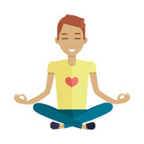 Jonge Mens die Meditatie in Lotus Pose maken Stock Afbeelding