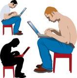 Jonge mens die met laptop werkt stock illustratie