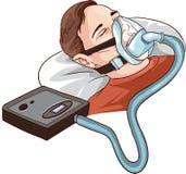 Jonge Mens die op Bed met Slaap Apnea en CPAP liggen royalty-vrije illustratie