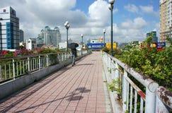 Jonge mens die op viaduct lopen stock fotografie