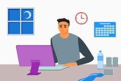 Jonge Mens die tot laat werken - nacht stock illustratie