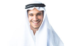 Jonge Mens die Traditionele Arabische Kleding dragen Royalty-vrije Stock Foto's