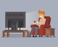 Jonge Mens die van het Spelsit armchair cartoon character flat van TV op Speel het Ontwerp Vectorillustratie letten Stock Foto