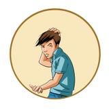 Jonge mens die zijn hoofd krassen Stock Afbeelding