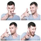 Jonge mens die zijn vinger richten aan samengesteld u Stock Foto