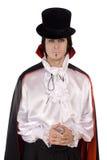 Jonge mens in een kostuum van Telling Dracula stock fotografie