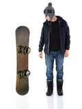 Jonge mens en snowboard Royalty-vrije Stock Afbeeldingen