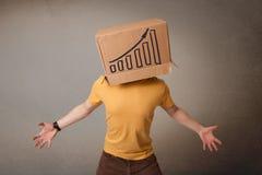 Jonge mens het gesturing met een kartondoos op zijn hoofd met diagram Royalty-vrije Stock Afbeeldingen