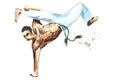 Jonge mens het praktizeren capoeira, voert handstand op één die hand uit op witte achtergrond wordt geïsoleerd Concept over mense Royalty-vrije Stock Afbeelding