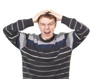 Jonge mens het schreeuwen Royalty-vrije Stock Fotografie