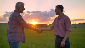 Jonge mens het schudden handen met oude landbouwer, die zich op tarwegebied en het letten op mooie zonsondergang op achtergrond b stock videobeelden
