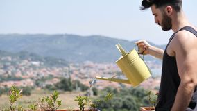 Jonge Mens het Water geven Installaties op Flatbalkon stock video