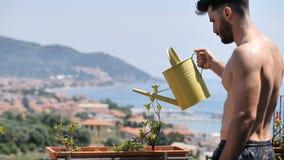 Jonge Mens het Water geven Installaties op Flatbalkon stock videobeelden