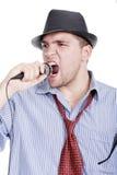 Jonge mens het zingen Stock Foto's