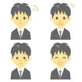 Jonge mens in kostuum, uitdrukkingen vector illustratie