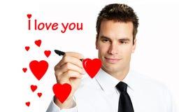 Jonge mens in liefde stock afbeelding