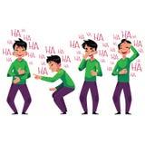 Jonge mens luid lachen uit, neiging over met gelach royalty-vrije illustratie