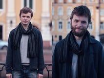 Jonge mens met baard en zonder het Stock Foto's