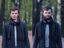 Jonge mens met baard en zonder het Stock Afbeeldingen