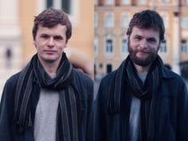 Jonge mens met baard en zonder het Royalty-vrije Stock Foto